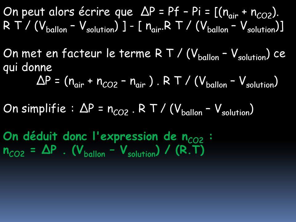 On peut alors écrire que ΔP = Pf – Pi = [(nair + nCO2)